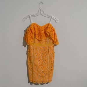 Orange Off The Shoulder Lace Tube Dress